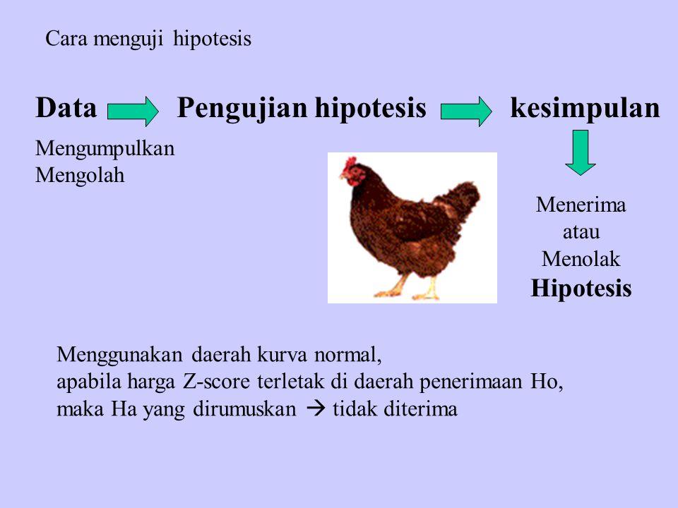 Data Pengujian hipotesis kesimpulan Hipotesis Cara menguji hipotesis