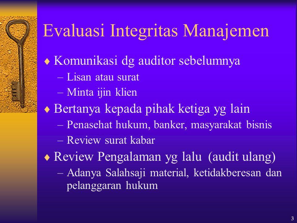Evaluasi Integritas Manajemen