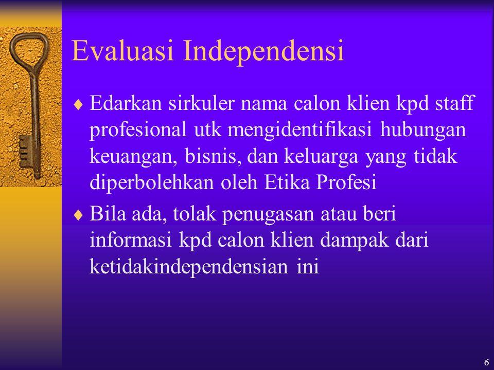 Evaluasi Independensi