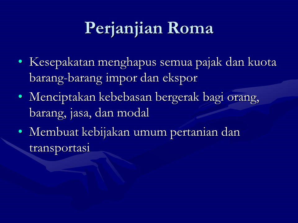 Perjanjian Roma Kesepakatan menghapus semua pajak dan kuota barang-barang impor dan ekspor.