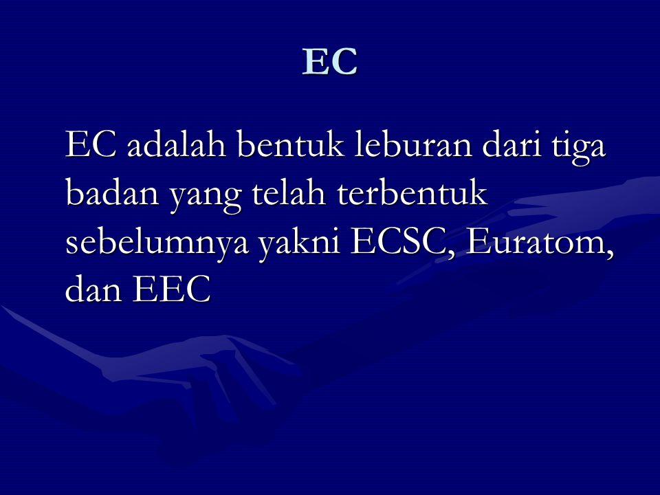 EC EC adalah bentuk leburan dari tiga badan yang telah terbentuk sebelumnya yakni ECSC, Euratom, dan EEC.