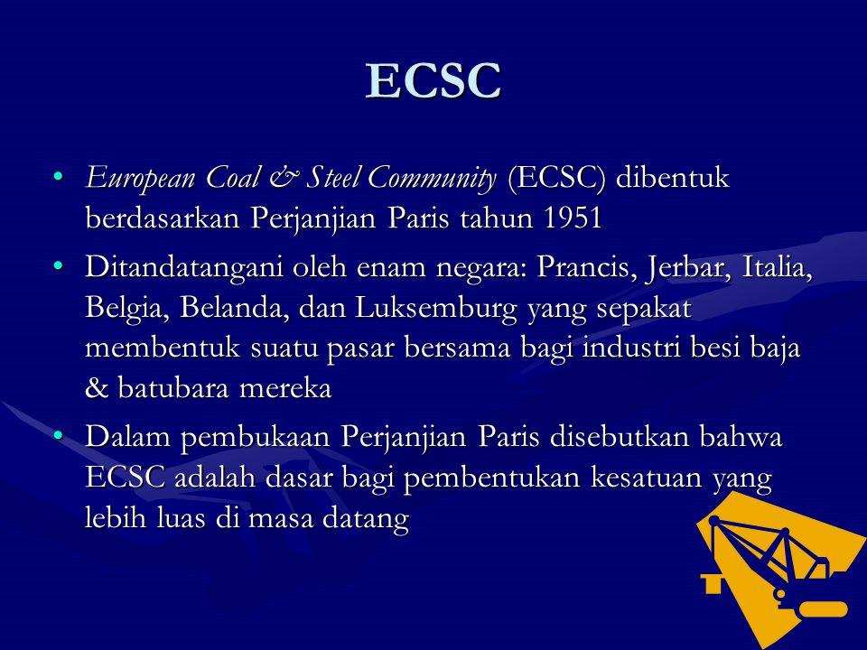 ECSC European Coal & Steel Community (ECSC) dibentuk berdasarkan Perjanjian Paris tahun 1951.