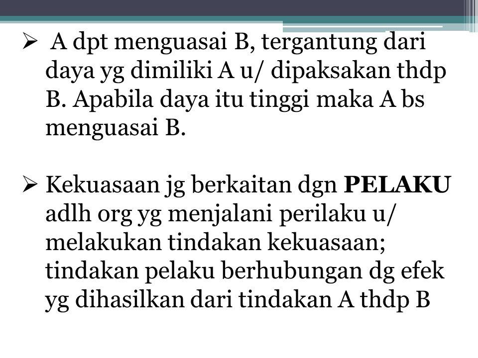 A dpt menguasai B, tergantung dari daya yg dimiliki A u/ dipaksakan thdp B. Apabila daya itu tinggi maka A bs menguasai B.