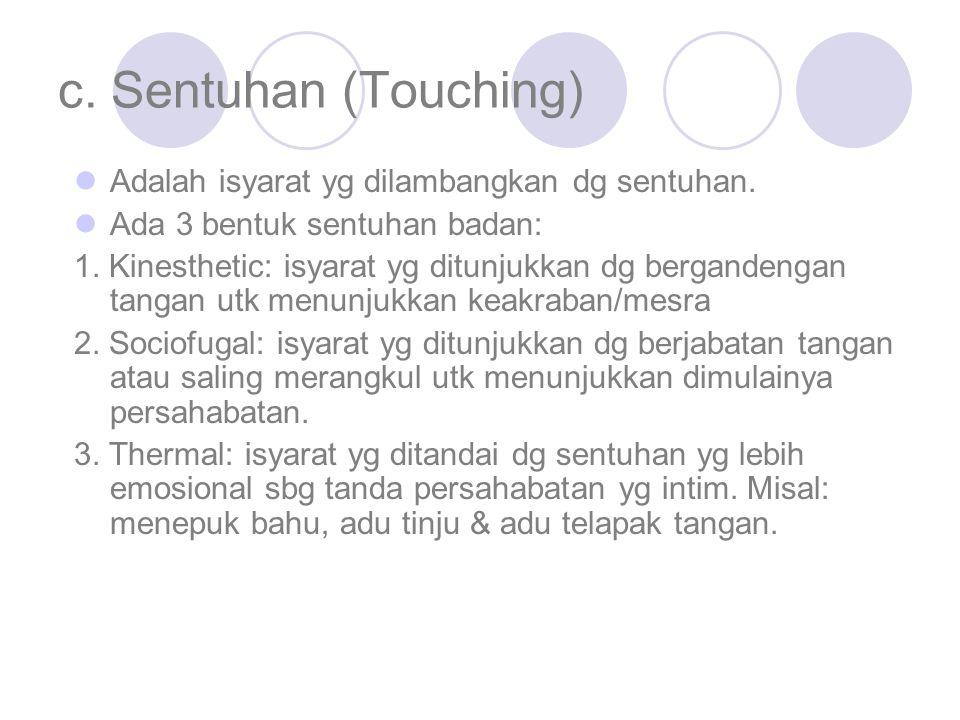 c. Sentuhan (Touching) Adalah isyarat yg dilambangkan dg sentuhan.