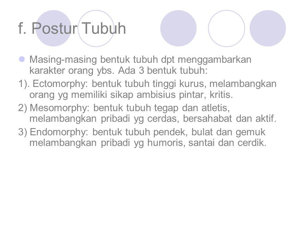 f. Postur Tubuh Masing-masing bentuk tubuh dpt menggambarkan karakter orang ybs. Ada 3 bentuk tubuh: