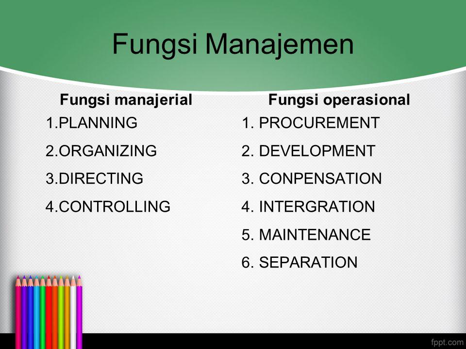 Fungsi Manajemen Fungsi manajerial Fungsi operasional PLANNING