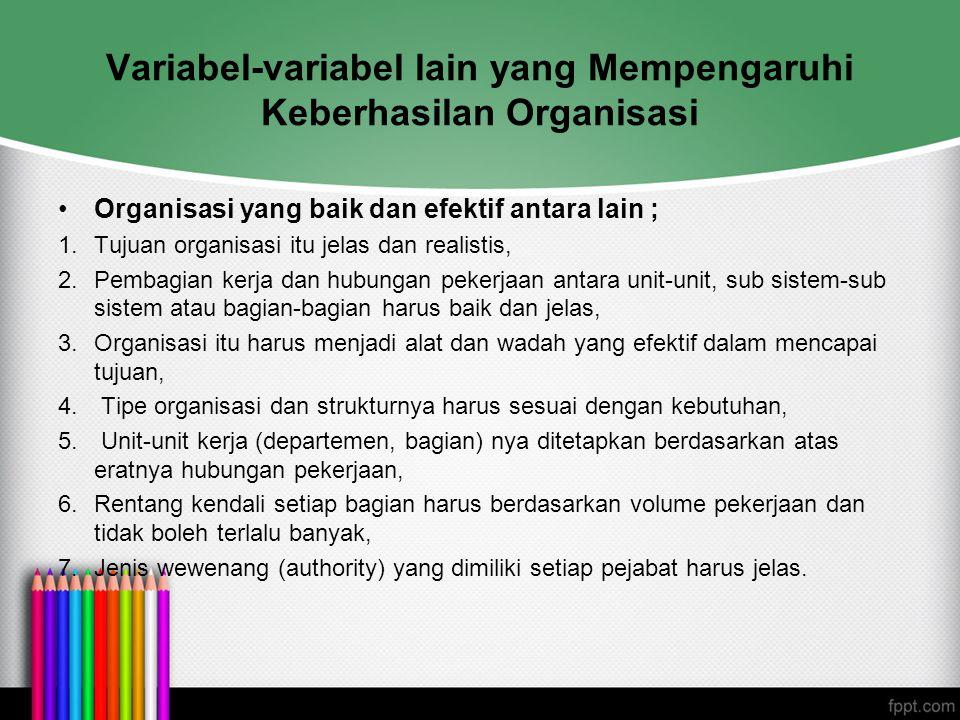 Variabel-variabel lain yang Mempengaruhi Keberhasilan Organisasi