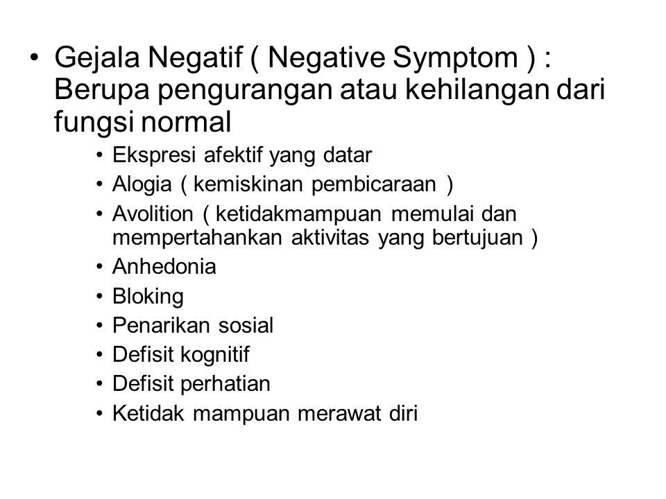 Gejala Negatif ( Negative Symptom ) : Berupa pengurangan atau kehilangan dari fungsi normal