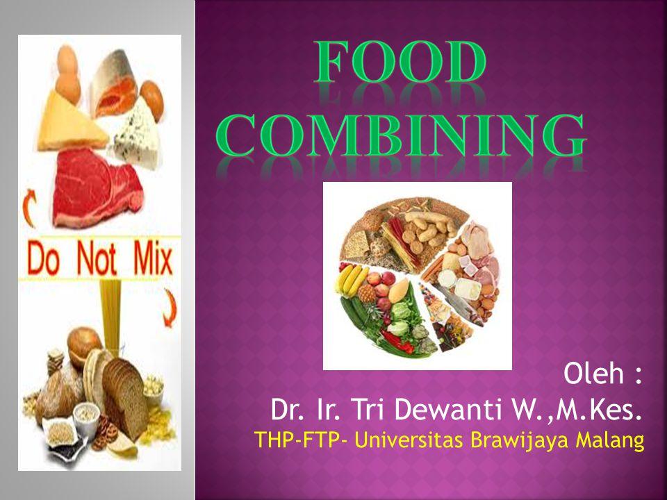 FOOD COMBINING Oleh : Dr. Ir. Tri Dewanti W.,M.Kes. THP-FTP- Universitas Brawijaya Malang