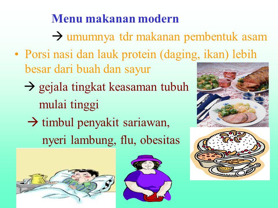Menu makanan modern  umumnya tdr makanan pembentuk asam. Porsi nasi dan lauk protein (daging, ikan) lebih besar dari buah dan sayur.