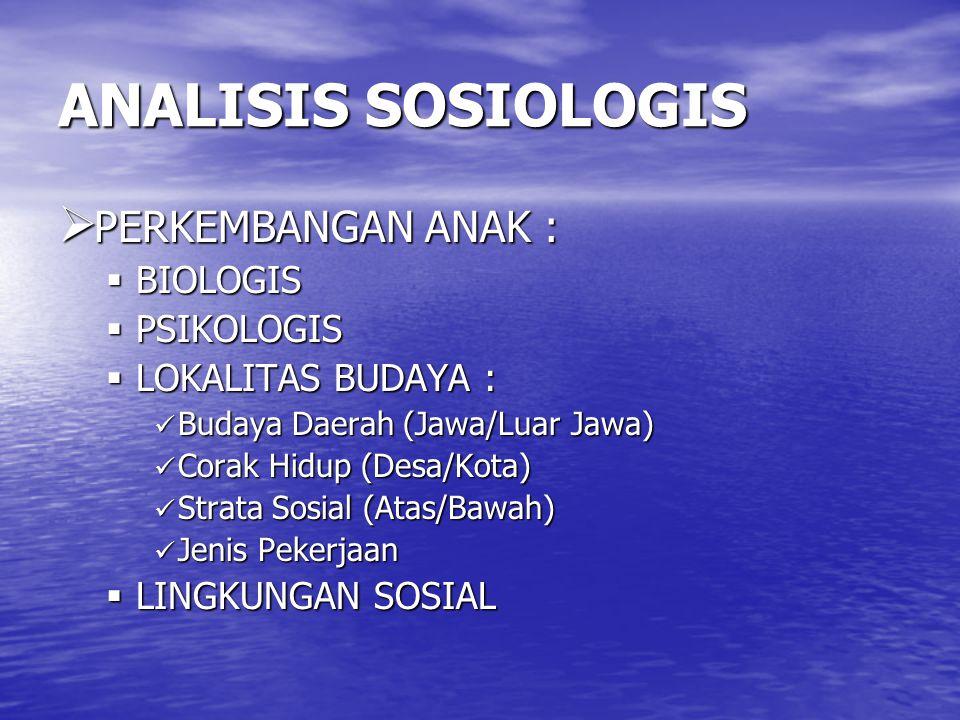 ANALISIS SOSIOLOGIS PERKEMBANGAN ANAK : BIOLOGIS PSIKOLOGIS