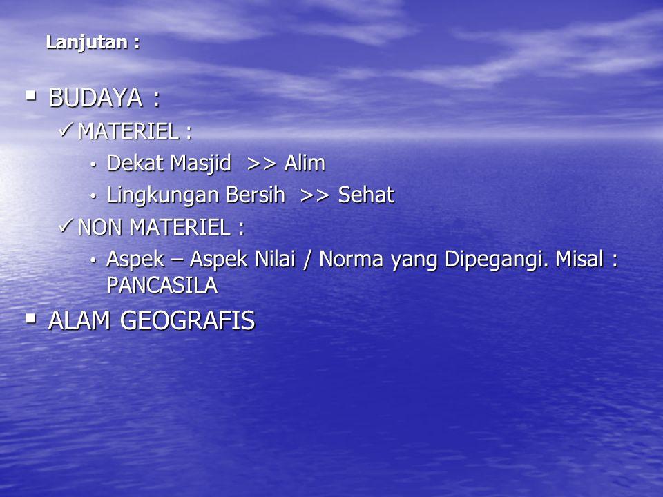 BUDAYA : ALAM GEOGRAFIS MATERIEL : Dekat Masjid >> Alim