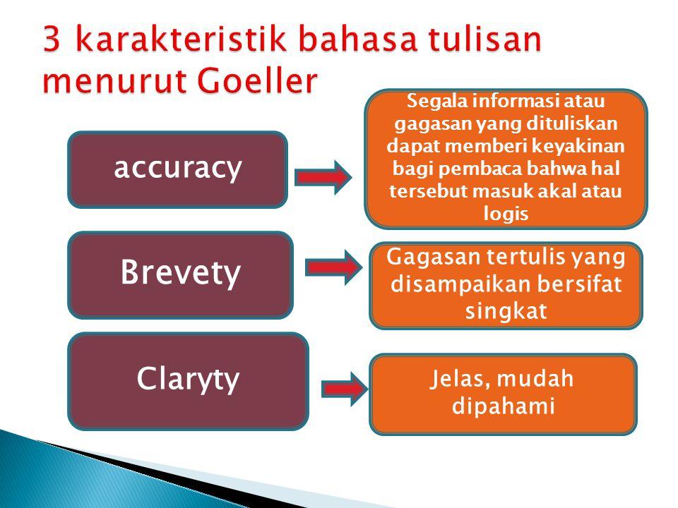3 karakteristik bahasa tulisan menurut Goeller