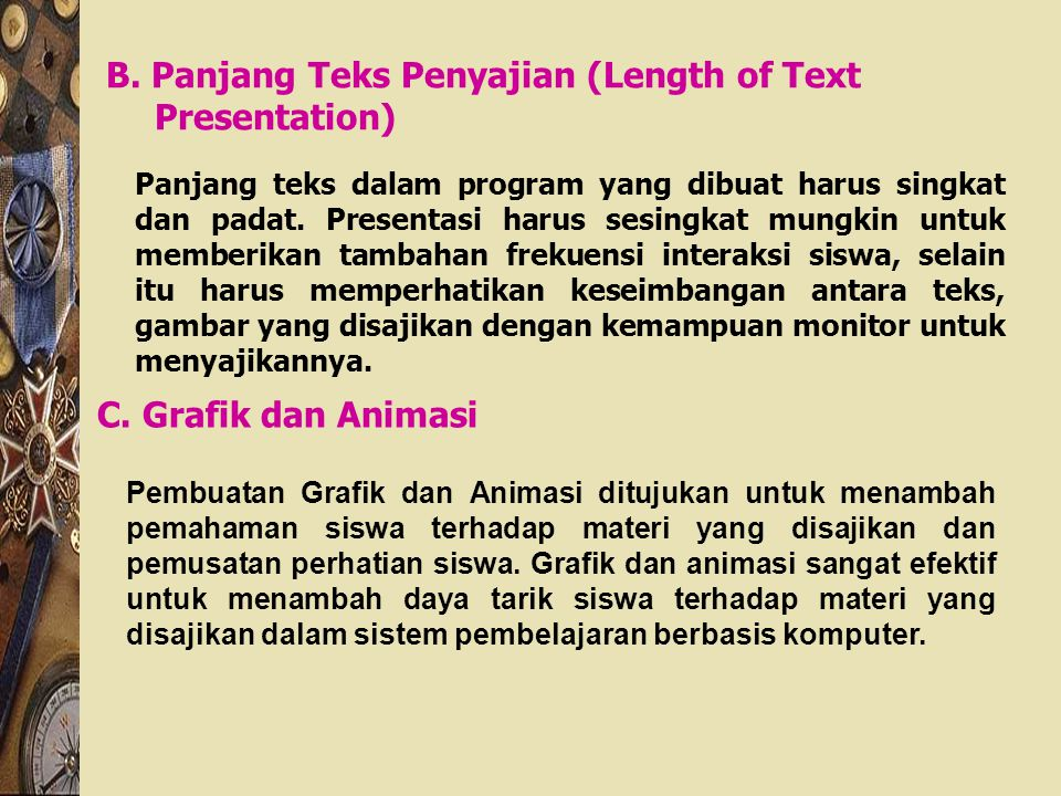 B. Panjang Teks Penyajian (Length of Text Presentation)