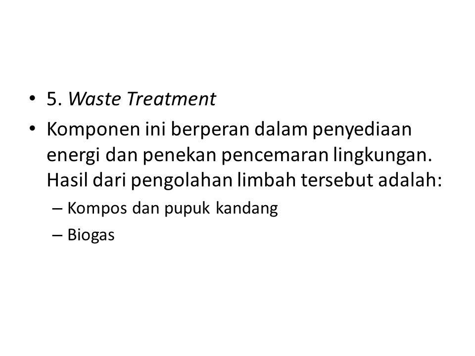 5. Waste Treatment Komponen ini berperan dalam penyediaan energi dan penekan pencemaran lingkungan. Hasil dari pengolahan limbah tersebut adalah: