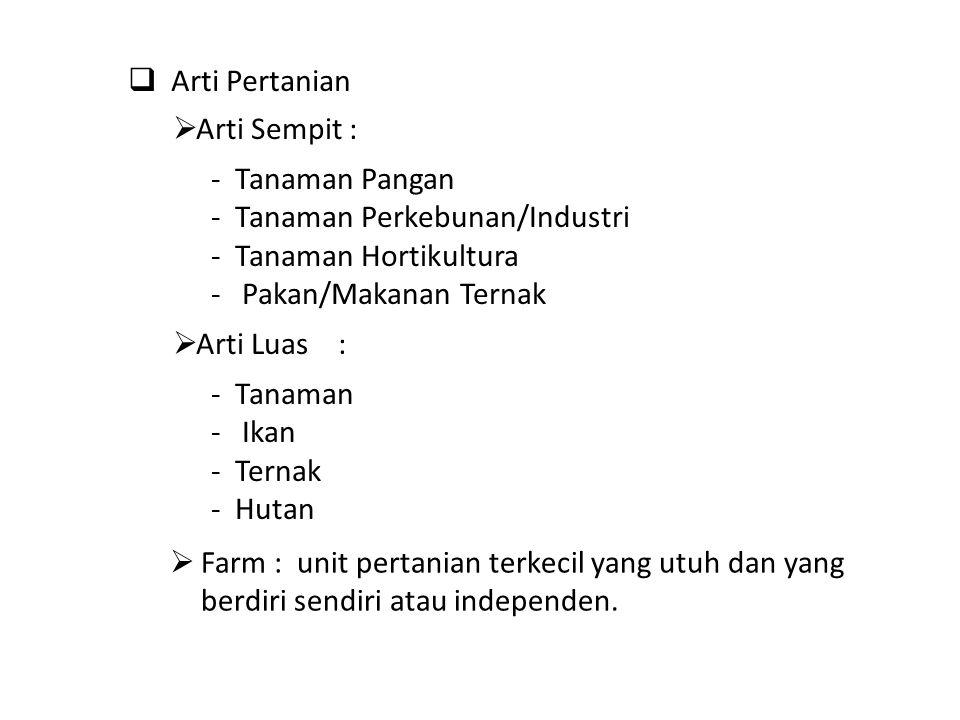 Arti Pertanian Arti Sempit : - Tanaman Pangan. - Tanaman Perkebunan/Industri. - Tanaman Hortikultura.
