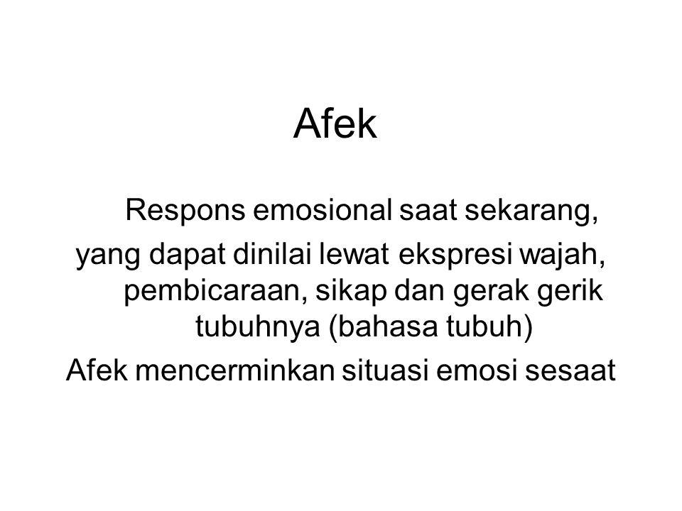 Afek Respons emosional saat sekarang,