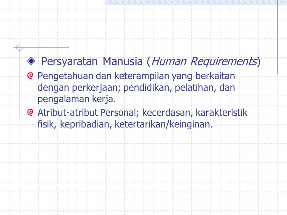 Persyaratan Manusia (Human Requirements)