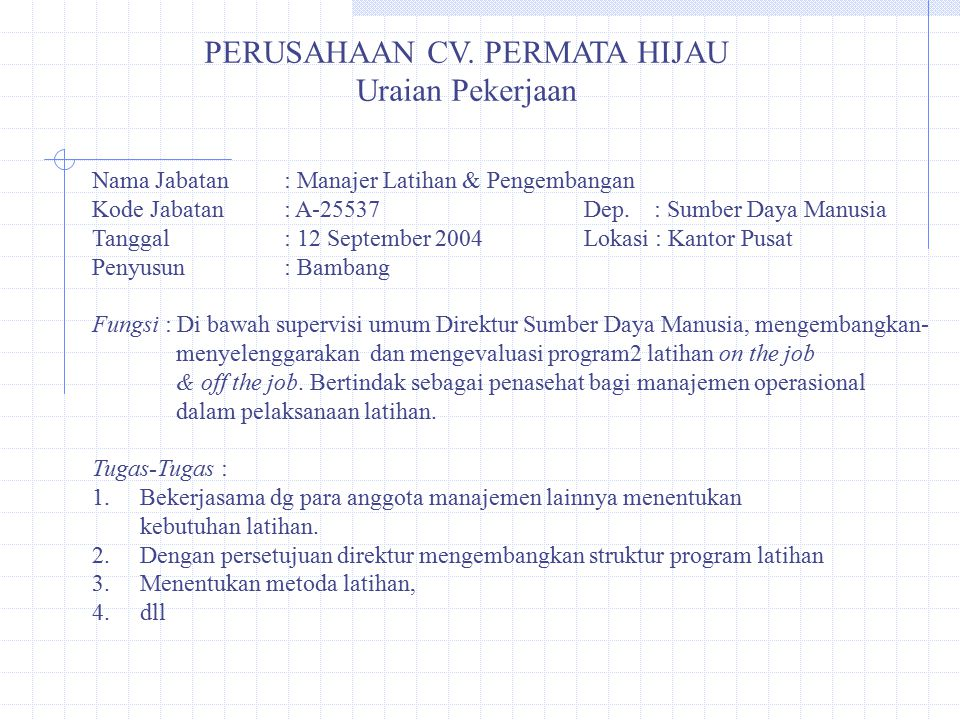 PERUSAHAAN CV. PERMATA HIJAU