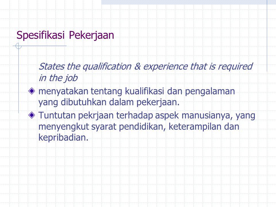 Spesifikasi Pekerjaan