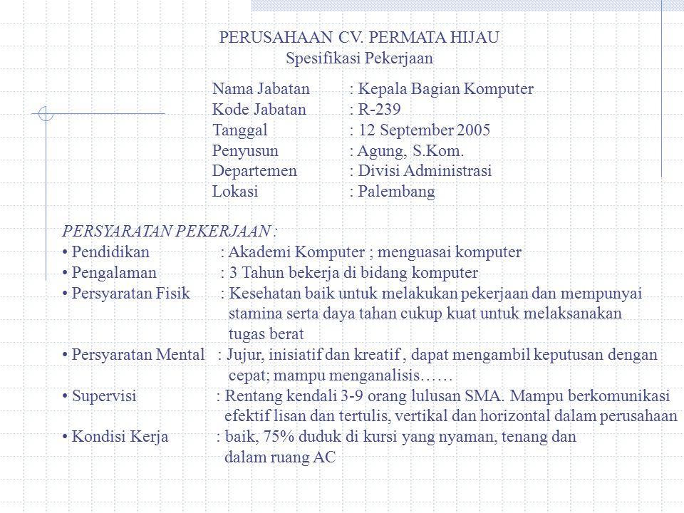 PERUSAHAAN CV. PERMATA HIJAU Spesifikasi Pekerjaan