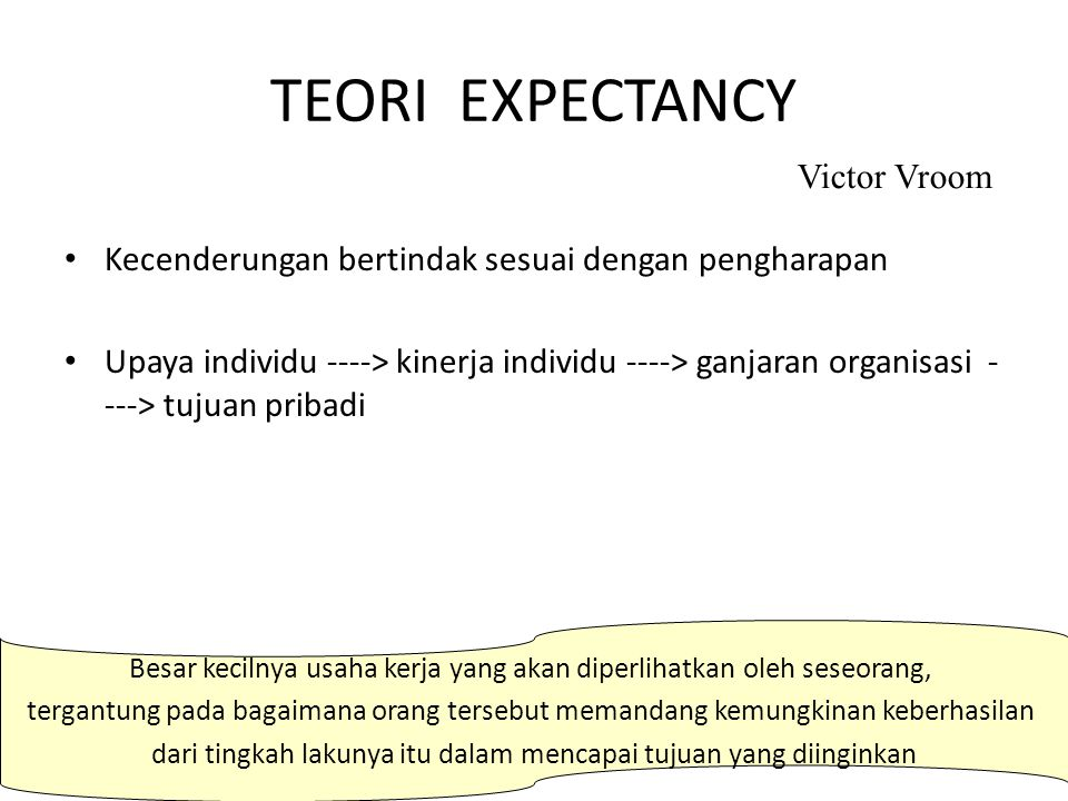 TEORI EXPECTANCY Victor Vroom