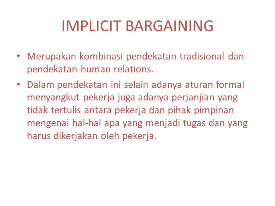IMPLICIT BARGAINING Merupakan kombinasi pendekatan tradisional dan pendekatan human relations.