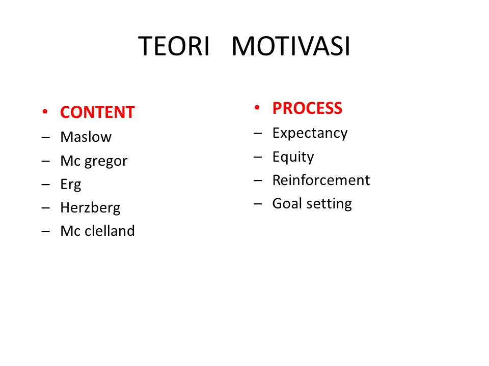 TEORI MOTIVASI PROCESS CONTENT Expectancy Maslow Equity Mc gregor