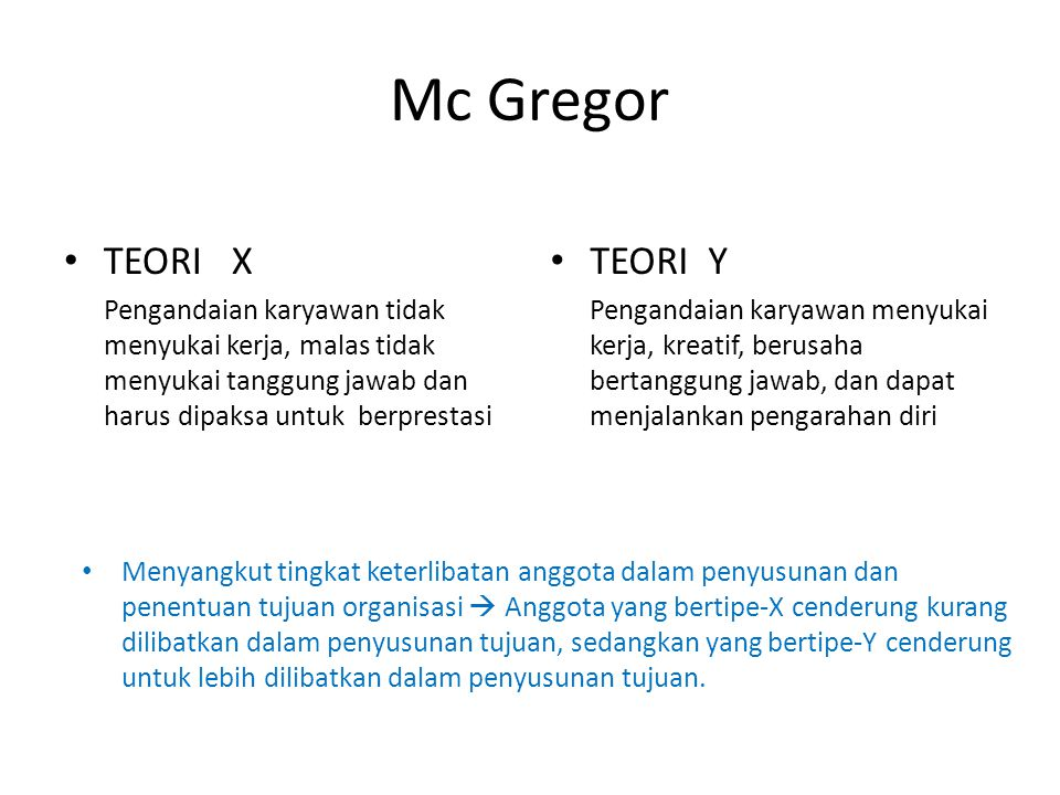 Mc Gregor TEORI X TEORI Y