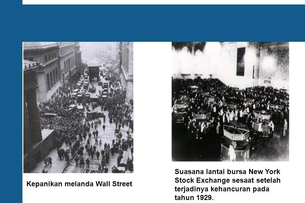 Suasana lantai bursa New York Stock Exchange sesaat setelah terjadinya kehancuran pada tahun 1929.