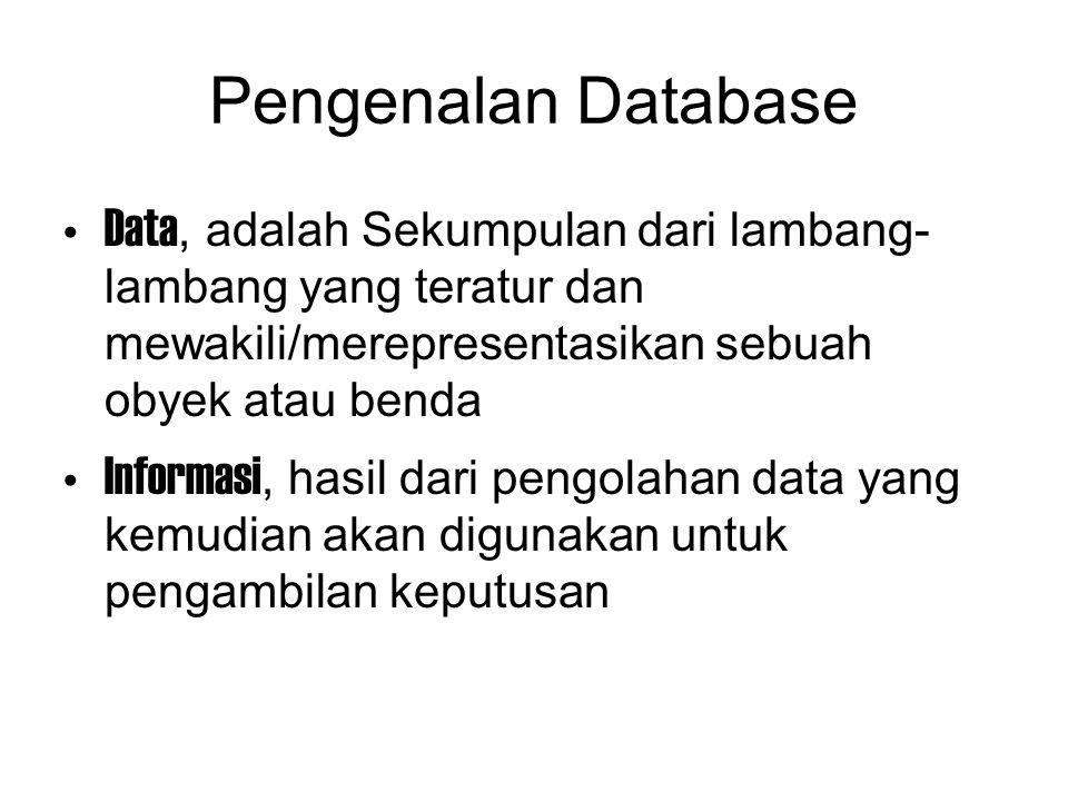 Pengenalan Database Data, adalah Sekumpulan dari lambang-lambang yang teratur dan mewakili/merepresentasikan sebuah obyek atau benda.
