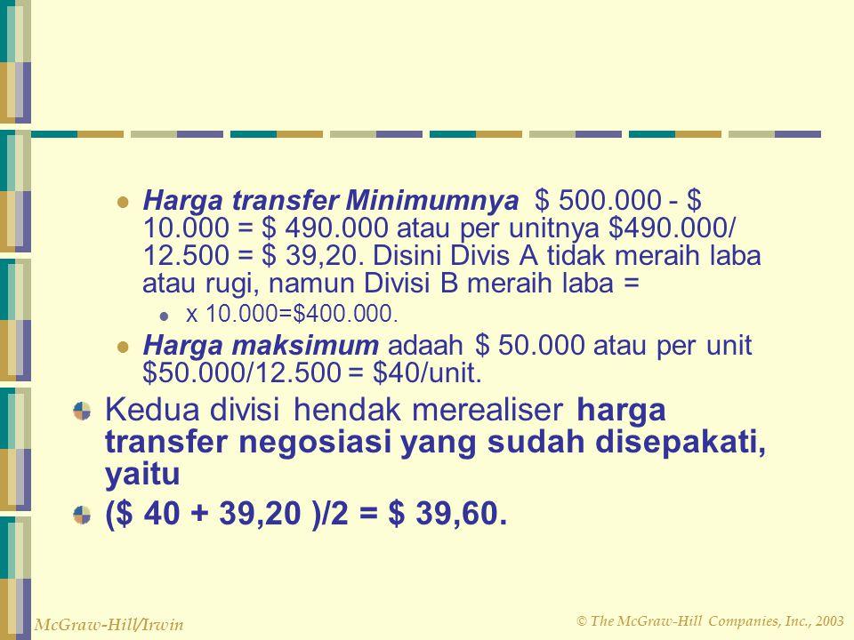 Harga transfer Minimumnya $ 500. 000 - $ 10. 000 = $ 490