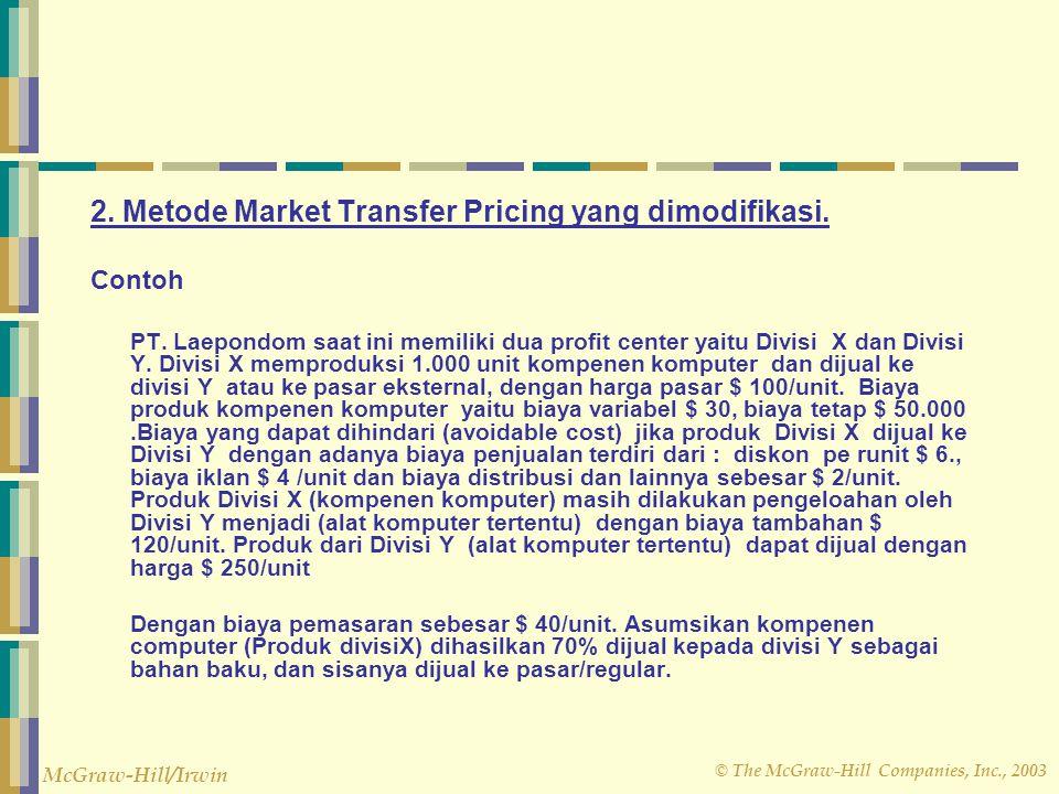 2. Metode Market Transfer Pricing yang dimodifikasi.