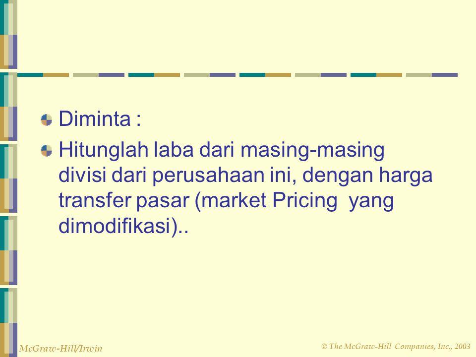 Diminta : Hitunglah laba dari masing-masing divisi dari perusahaan ini, dengan harga transfer pasar (market Pricing yang dimodifikasi)..