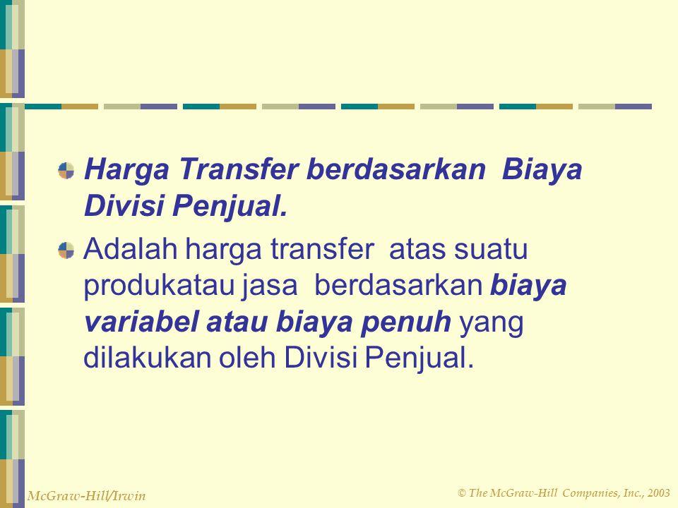 Harga Transfer berdasarkan Biaya Divisi Penjual.
