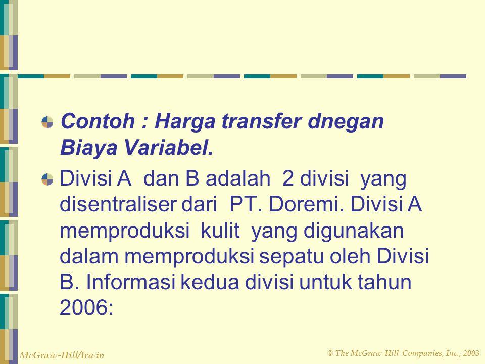 Contoh : Harga transfer dnegan Biaya Variabel.