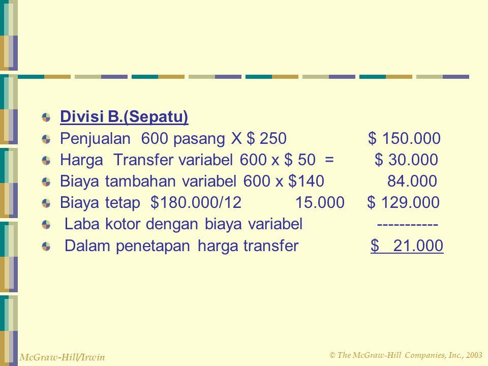 Divisi B.(Sepatu) Penjualan 600 pasang X $ 250 $ 150.000. Harga Transfer variabel 600 x $ 50 = $ 30.000.