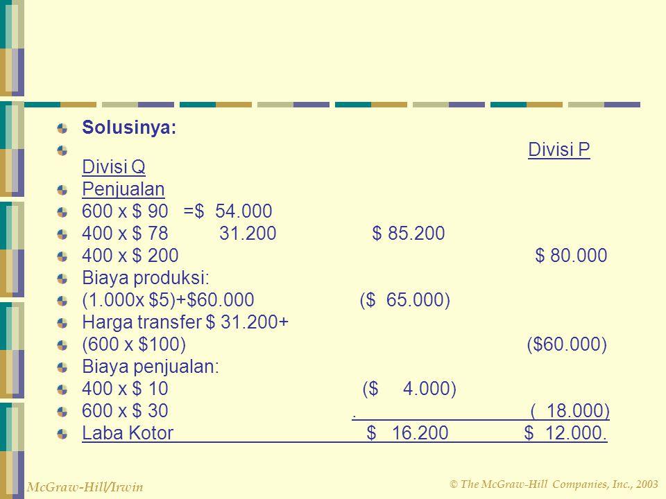 Solusinya: Divisi P Divisi Q. Penjualan. 600 x $ 90 =$ 54.000. 400 x $ 78 31.200 $ 85.200.