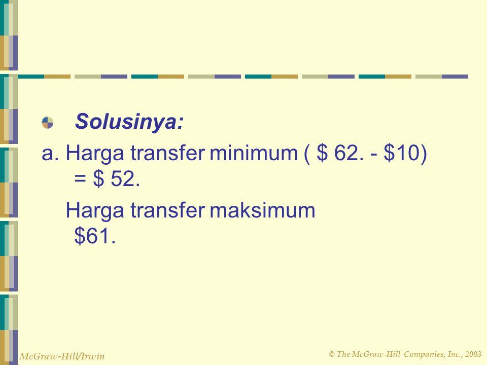 Solusinya: a. Harga transfer minimum ( $ 62. - $10) = $ 52.