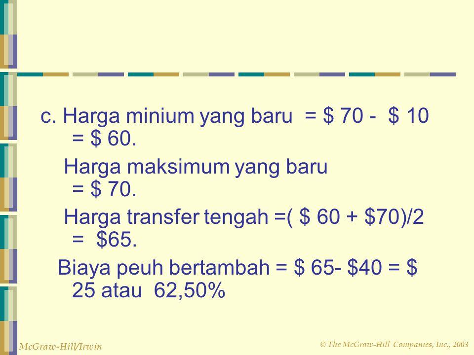 c. Harga minium yang baru = $ 70 - $ 10 = $ 60.