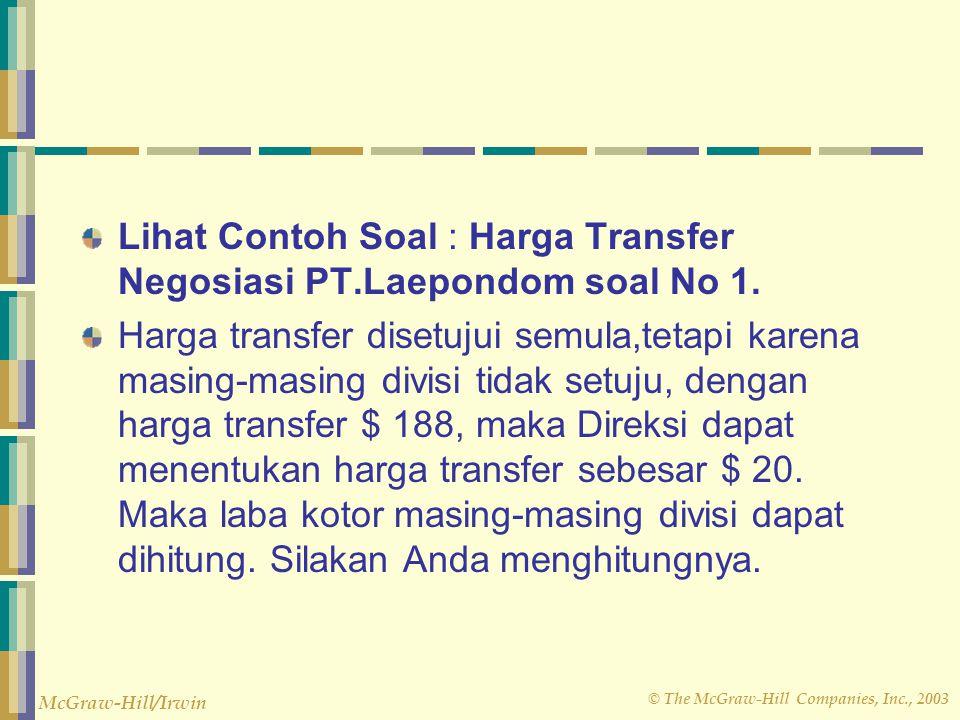 Lihat Contoh Soal : Harga Transfer Negosiasi PT.Laepondom soal No 1.