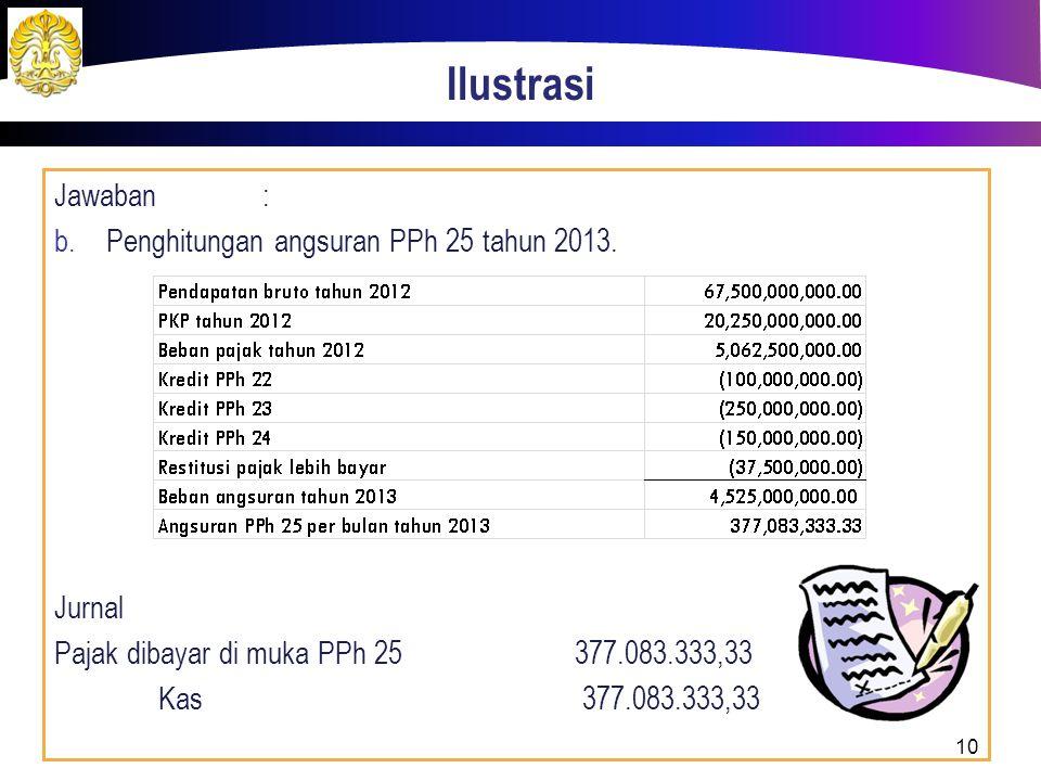 Ilustrasi Jawaban : Penghitungan angsuran PPh 25 tahun 2013. Jurnal