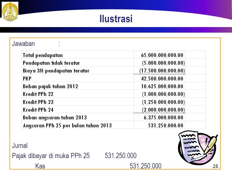 Ilustrasi Jawaban : Jurnal Pajak dibayar di muka PPh 25 531.250.000 Kas 531.250.000