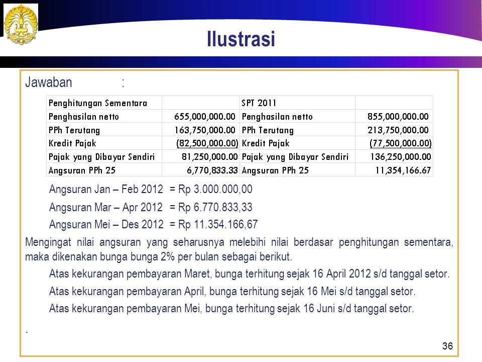 Ilustrasi Jawaban : Angsuran Jan – Feb 2012 = Rp 3.000.000,00 .