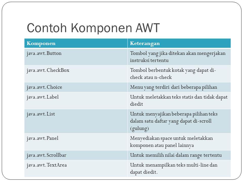Contoh Komponen AWT Komponen Keterangan java.awt.Button