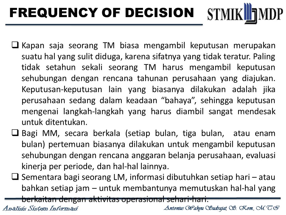 FREQUENCY OF DECISION