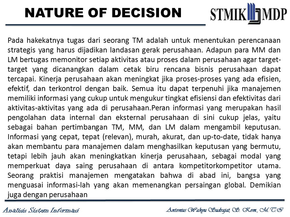 NATURE OF DECISION