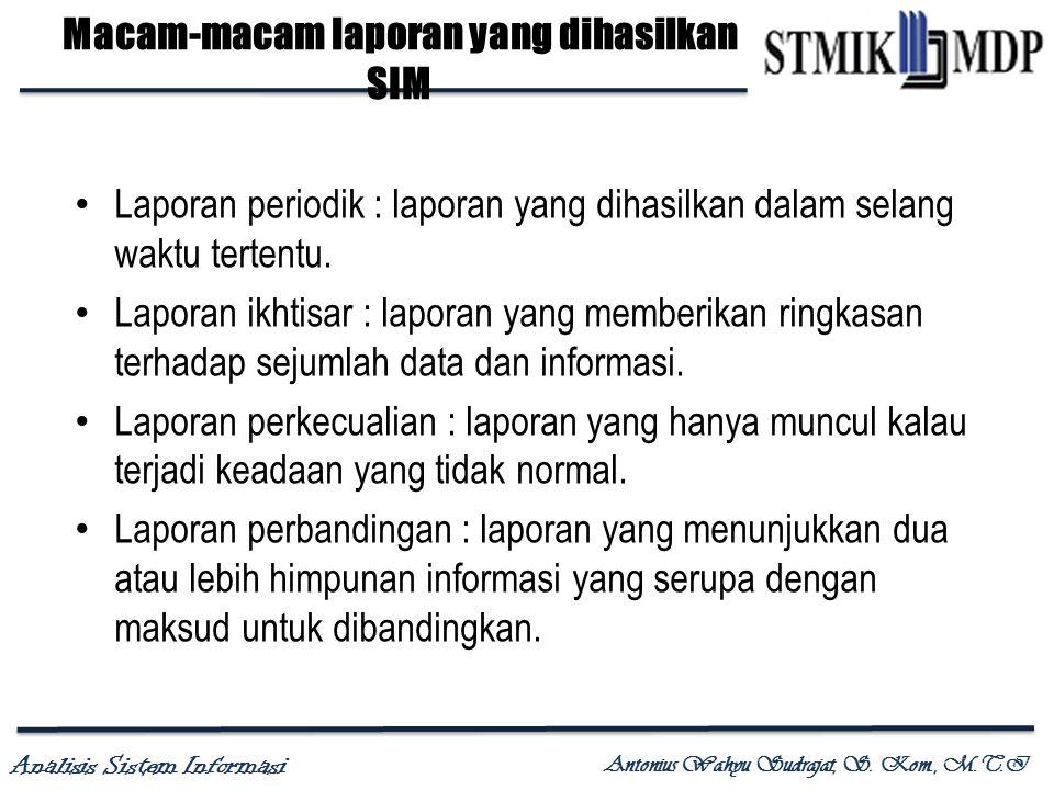 Macam-macam laporan yang dihasilkan SIM