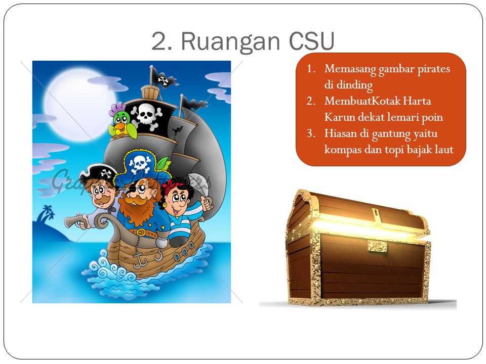 2. Ruangan CSU Memasang gambar pirates di dinding