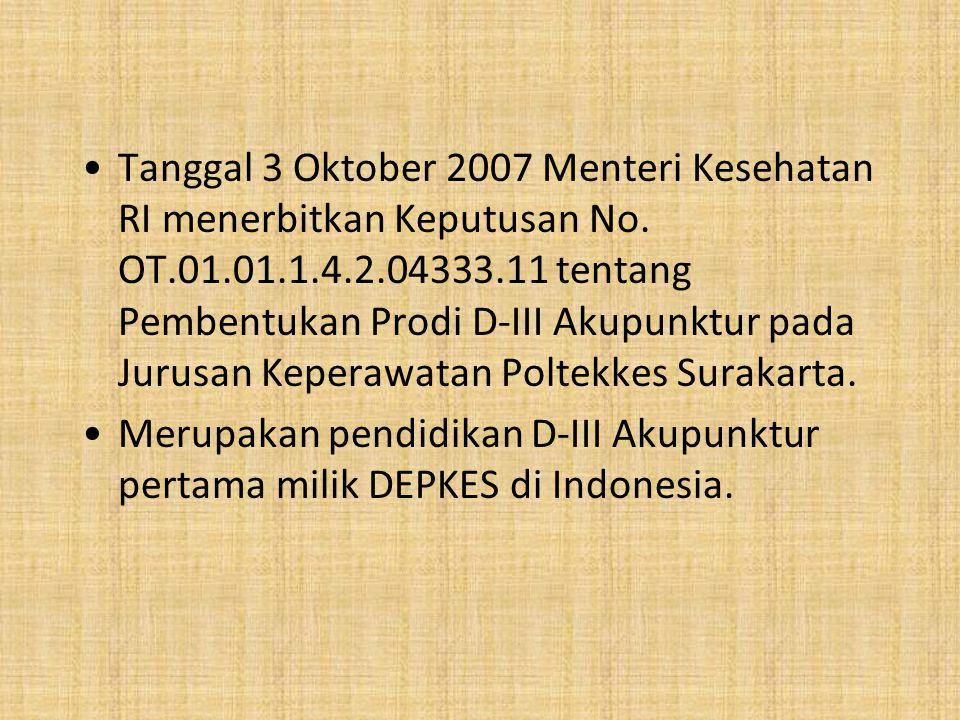 Tanggal 3 Oktober 2007 Menteri Kesehatan RI menerbitkan Keputusan No